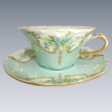 Antique Haviland Limoges Jeweled Cup Saucer Hand Painted Forget-Me-Nots Signed Dated 1901