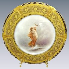 French Limoges Portrait Figural Plate Famous Artist Signed J. Soustre