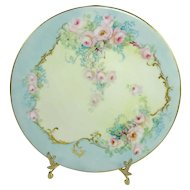Antique French Limoges Plate Hand Painted Pink Tea Roses Signed