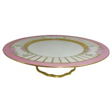 Antique French Limoges Tazza Compote Cake Plate Pink Tea Roses