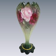 Stunning Porcelain Vase with Hand Painted Pink and Crimson Tea Roses
