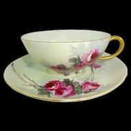 Guerin Limoges Cup Saucer Hand Painted  Crimson Tea Roses