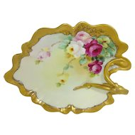 Pickard Nappy Trinket Dish Tray Hand Painted Roses Artist Signed