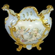 French Limoges Jardiniere Vase Hand Painted Cherubs Roses