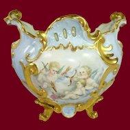 French Limoges Jardiniere Vase Hand Painted Cherubs Roses