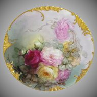 "Haviland Limoges, France 13 1/2"" Charger Plate Hand Painted Roses"