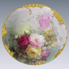 """Haviland Limoges, France 13 1/2"""" Charger Plate Hand Painted Roses"""