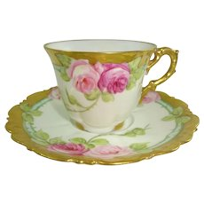 Limoges France Cup Saucer Hand Painted Roses Artist Signed