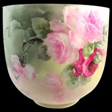 Antique Guerin Limoges Magnificent Jardiniere Hand Painted Roses