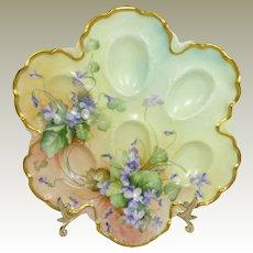 Antique Haviland Limoges Egg Tray Hand Painted Purple Violets