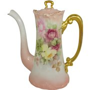 Antique French Limoges Tea Pot Hand Painted Tea Roses Signed