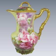 Antique French Limoges Chocolate Pot Hand Painted Roses Signed