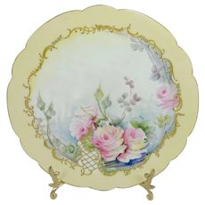 Antique French Limoges Jeweled Plate Pink Roses Signed Dated