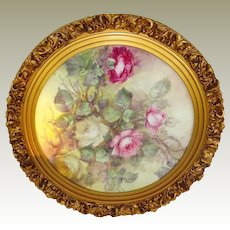 Antique Limoges Framed Charger Tray Hand Painted ROSES