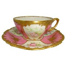 Limoges Cup Saucer Hand Painted Tea Roses Floral Gilt Design Artist Signed