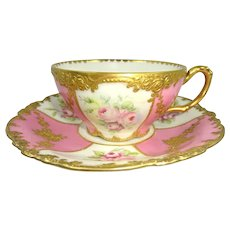 Exquisite JPL Limoges Cup Saucer Hand Painted Roses Heavy Gilt Embellishment