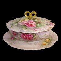 Haviland Limoges Tureen Hand Painted Tea Roses Signed Nellie Violet Thomas Scheinert