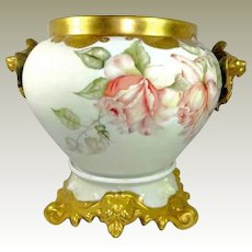 Antique Limoges French Jardiniere Vase Hand Painted Roses with Plinth