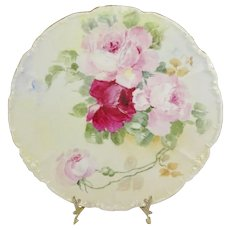 Limoges France Artist Signed Plate Hand Painted Roses