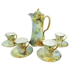 Antique Rosenthal Chocolate Pot Cups Saucers Hand Painted Tea Roses