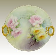 GDA Limoges France Charger Plate Hand Painted Tea Roses Signed