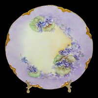 Haviland Limoges Plate with Hand Painted Purple African Violets