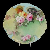 Haviland Limoges France Charger Hand Painted Roses Jeweled