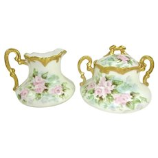 Austria Sugar Creamer Hand Painted Pink Tea Roses Signed
