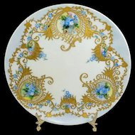 Limoges Plate Hand Painted Forget-Me-Nots Exquisite Gilded Design