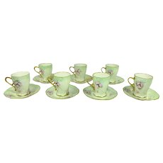7 Limoges Chocolate Coco Cups Saucers Hand Painted Pink Tea Roses