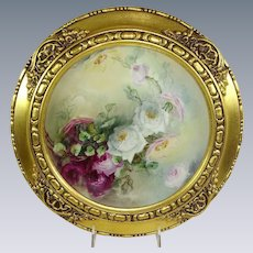Framed Haviland Limoges Plate Hand Painted Tea Roses Signed by China Painter, Nellie Sheldon