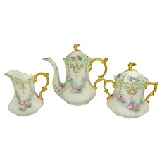 JPL Limoges Tea Set Hand Painted Roses Jeweled & Gilded Accented