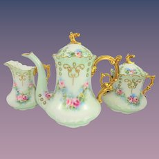 Exquisite Jean Pouyat Limoges Tea Set Hand Painted Roses Jeweled