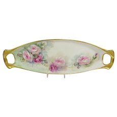 Antique French Limoges Tray with Hand Painted Pink Tea Roses