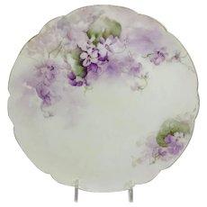 Haviland Limoges Plate Hand Painted Purple Violets Signed
