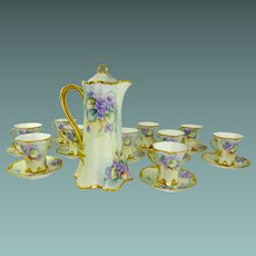 Absolutely GORGEOUS - Haviland Limoges France - 23 Piece - HAND PAINTED - Chocolatier Tea Set - Chocolate Pot - Matching Cups Saucers - Victorian AMETHYST VIOLETS - RARE HEIRLOOM TREASURE
