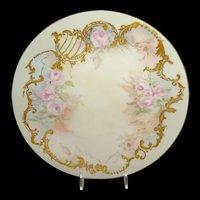 Guerin Limoges Plate Heavy Gilt Design Pink Tea Roses Signed
