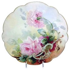 Antique French Limoges Plate Hand Painted Tea Roses Signed Aulich