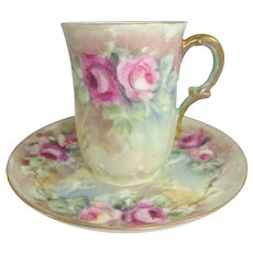 GDA Limoges France Cup Saucer Hand Painted Pink Tea Roses
