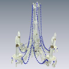 Vintage Tole Wrought Iron Floral Chandelier with Blue Beads and Crystals