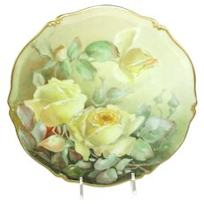 Antique French Limoges Plate Hand Painted Roses Artist Signed
