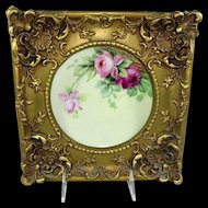 Pitkin and Brooks Framed Plate Hand Painted Pink Roses Artist Signed