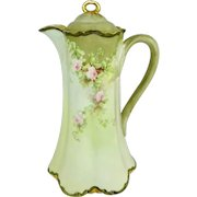 Haviland French Limoges Chocolate Pot Hand Painted Pink Roses