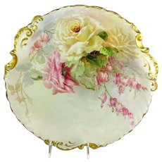 Antique French Guerin Limoges Charger Hand Painted Roses