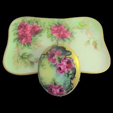 Extra Large Hand Painted Porcelain Brooch and Limoges Trinket Tray