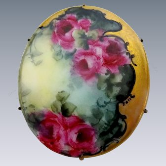 Extra Large Hand Painted Porcelain Brooch Crimson Tea Roses