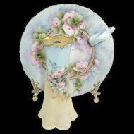 Antique French Limoges Hand Painted Nappy with Hat Pin Holder