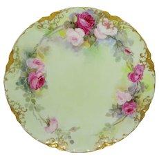 Haviland Limoges Plate Hand Painted Pink Tea Roses