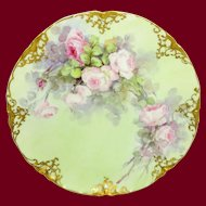 Haviland Limoges France Plate Hand Painted Pink Tea Roses