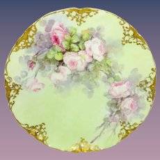Haviland Limoges France Plate Hand Painted Pink Tea Roses